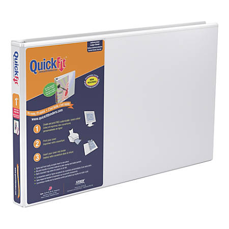 """Stride® QuickFit® D-Ring Overlay Binders, Ledger, 1"""" Rings, 59% Recycled, White"""