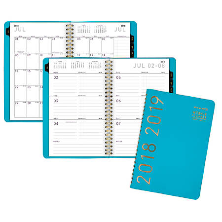"""AT-A-GLANCE® Contemporary Weekly/Monthly Academic Planner, 4 7/8"""" x 8"""", 30% Recycled, Teal, July 2018 to June 2019"""