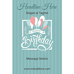 Adhesive Sign Birthday Balloons Vertical