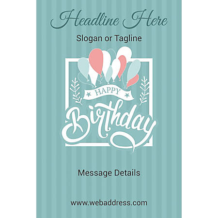Adhesive Sign, Birthday Balloons, Vertical