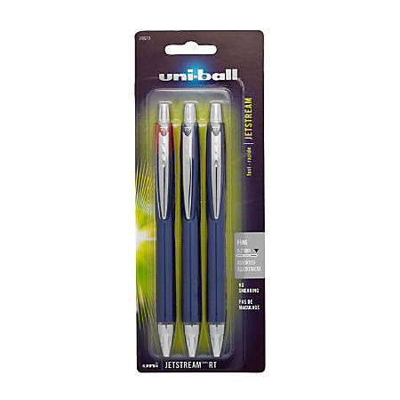 uni-ball® Jetstream™ RT Retractable Ballpoint Pens, Fine Point, 0.7 mm, Blue Barrels, Assorted Ink Colors, Pack Of 3