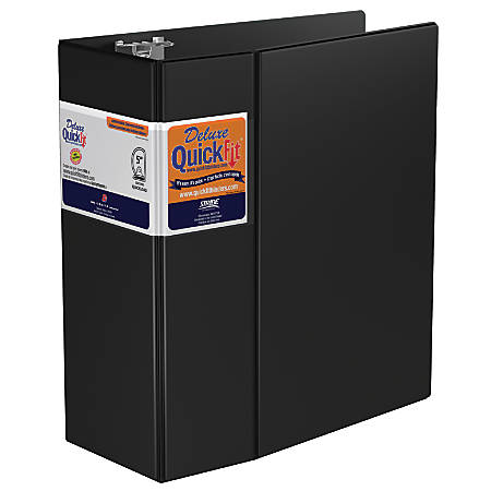 """Stride® QuickFit® Space-Saving D-Ring Commercial Binders, 5"""" Rings, 43% Recycled, Black"""