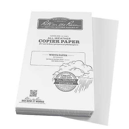 "Rite in the Rain® All-Weather Printer Paper, Legal Size (8 1/2"" x 14""), 85 (U.S.) Brightness, 20 Lb, 500 Sheets"