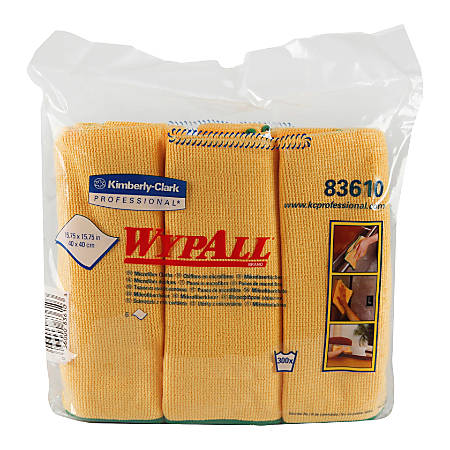 "Wypall Microfiber Cloths - General Purpose - Cloth - 15.75"" Width x 15.75"" Length - 24 / Carton - Yellow"