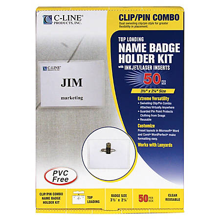 """C-Line Sealed Clip/Pin Style Badge Holder Kit, Top Loading, 2 1/4"""" x 3 1/2"""""""