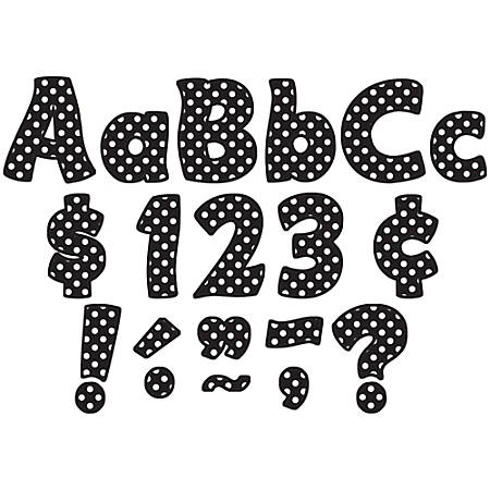 """Teacher Created Resources Funtastic Font Polka Dot Letters And Numbers, 4"""", Black, Pre-K - Grade 8, Pack Of 208"""