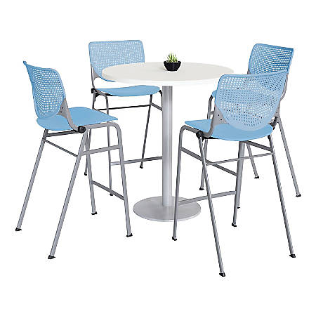 "KFI Studios KOOL Round Pedestal Table With 4 Stacking Chairs, 41""H x 36""D, Designer White/Sky Blue"