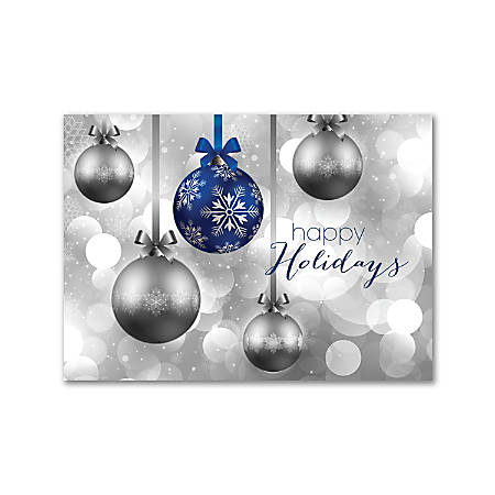 """Custom Full-Color Holiday Cards With Envelopes, 7-7/8"""" x 5-5/8"""", Hanging Ornaments, Box Of 25 Cards"""