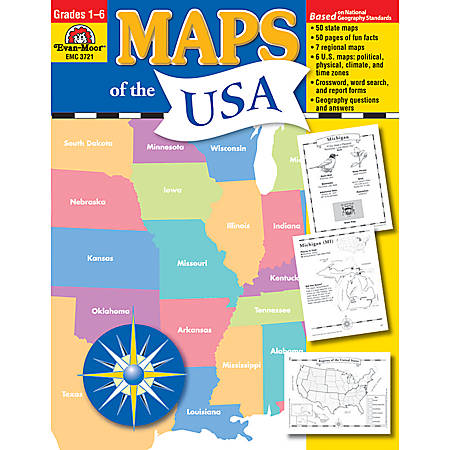 Evan-Moor® Maps Of The USA, Grades 1-6