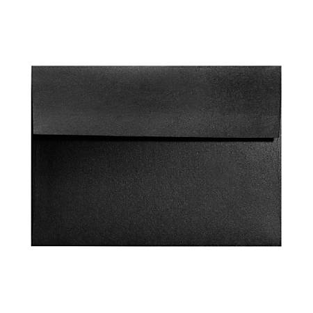 """LUX Invitation Envelopes With Moisture Closure, A2, 4 3/8"""" x 5 3/4"""", Black Satin, Pack Of 50"""