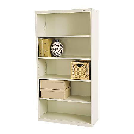 Tennsco Metal 5-Shelf Bookcase, Putty