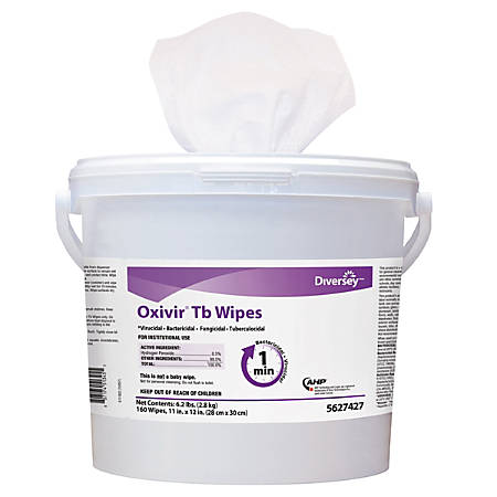 "Diversey™ Oxivir® TB Disinfectant Wipes, 11"" x 12"", White, 160 Wipes Per Bucket, Carton Of 4 Buckets"