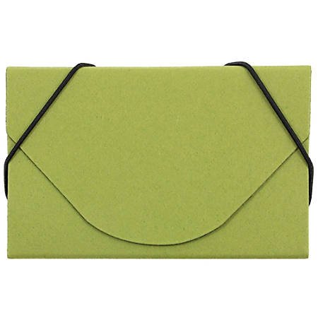 JAM Paper® Business Card Case With Elastic Closure, Lime Green