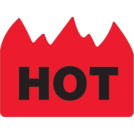 """Tape Logic® Flame Labels, DL1399, Hot (Bill of Lading), 1 1/2"""" x 2"""", Red/Black, Roll Of 500"""
