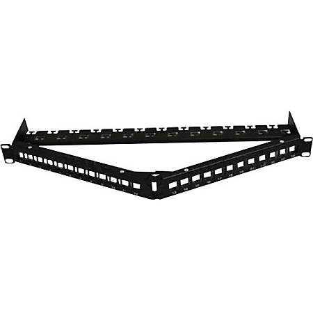 AddOn 19-inch Cat6A 24-Port Angled 1U Patch Panel with 180 Degree Keystones - 100% compatible and guaranteed to work
