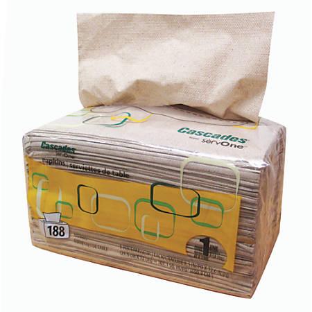 "Cascades® for ServOne™ Dispenser Pack Napkins, Moka® 12 5/8"" x 8 1/2"", Sleeve Of 188 Napkins"