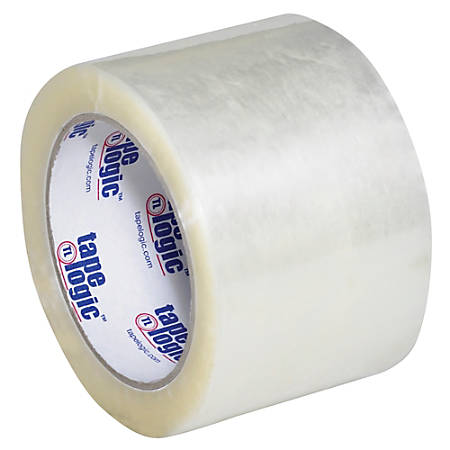 "Tape Logic® #600 Hot Melt Tape, 3"" Core, 3"" x 110 Yd., Clear, Case Of 6"