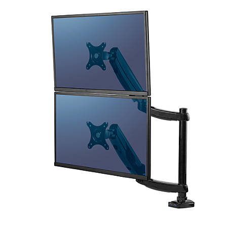 """Fellowes® Platinum Series Dual-Stacking Arm For Monitors Up To 27"""", 27 3/16""""H x 35 3/8""""W x 3 1/4""""D, Black, 8043401"""