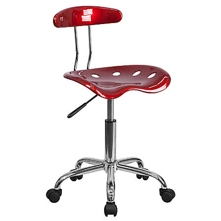 Flash Furniture Vibrant Low-Back Task Chair With Tractor Seat, Wine Red/Chrome