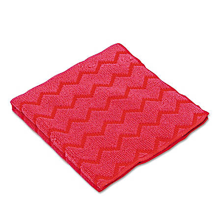"Rubbermaid® HYGEN Microfiber Cleaning Cloths, 16"" x 16"", Red, Pack Of 12 Cloths"