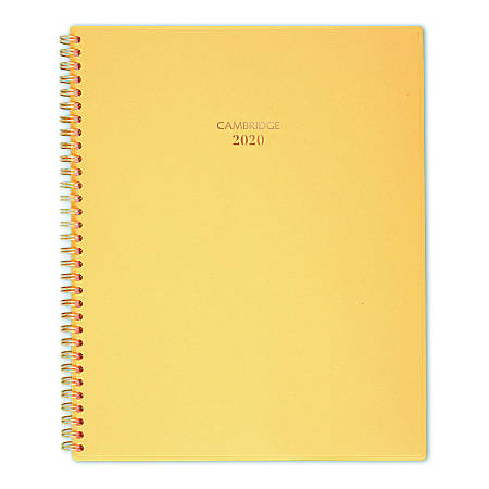 """Cambridge® Color Bar Weekly/Monthly Planner, 8-1/2"""" x 11"""", Yellow, January To December 2020, 1123-905-48"""