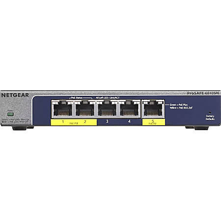 Netgear ProSafe GS105PE Ethernet Switch - 5 Ports - Manageable - 2 Layer Supported - PoE Ports - Desktop - Lifetime Limited Warranty