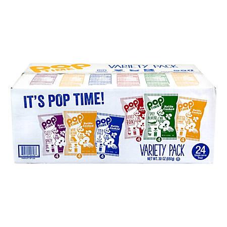 POPtime Kettle Cooked Popcorn Variety Case, 1 Oz, Case Of 24 Packs