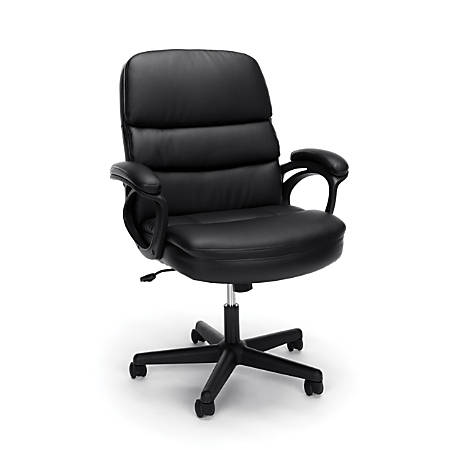 Essentials By OFM Bonded Leather High-Back Chair, Black