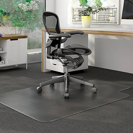 "Deflecto DurMat for Carpet - Carpeted Floor - 60"" Length x 46"" Width - Lip Size 12"" Length x 25"" Width - Vinyl - Clear"