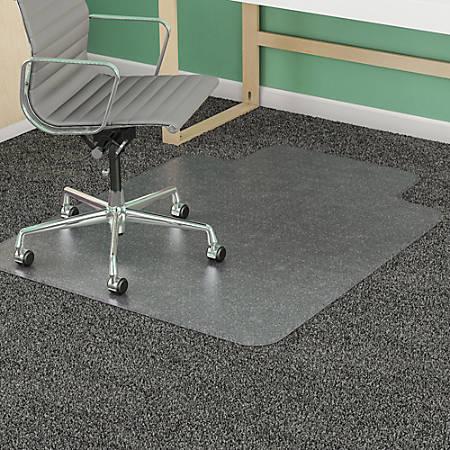 """Deflect-O® SuperMat Medium Weight Chair Mat For Carpet, 60"""" x 46"""" (25"""" x 12"""" Lip), Clear"""