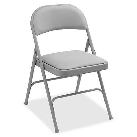 Lorell® Padded Seat Steel Folding Chair, Beige, Set Of 4
