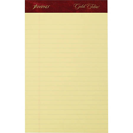 "TOPS Gold Fibre Premium Jr. Legal Writing Pads - 50 Sheets - Watermark - Stapled/Glued - 0.28"" Ruled - 20 lb Basis Weight - 5"" x 8"" - Yellow Paper - Bleed-free, Chipboard Backing, Micro Perforated - 4 / Pack"