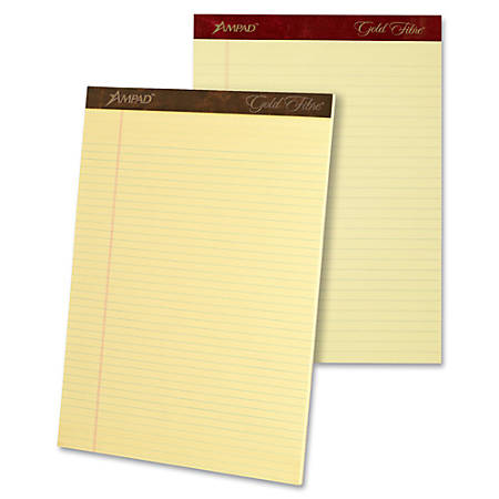 """TOPS Gold Fibre Premium Rule Writing Pads - Letter - 50 Sheets - Watermark - Stapled/Glued - 0.34"""" Ruled - 20 lb Basis Weight - 8 1/2"""" x 11"""" - Yellow Paper - Micro Perforated, Bleed-free, Chipboard Backing - 4 / Pack"""