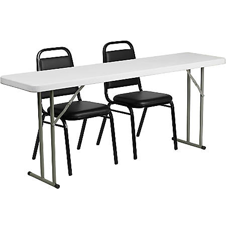Peachy Flash Furniture Plastic Folding Training Table With 2 Trapezoidal Back Stack Chairs 29H X 72W X 18D Black White Item 5259173 Andrewgaddart Wooden Chair Designs For Living Room Andrewgaddartcom