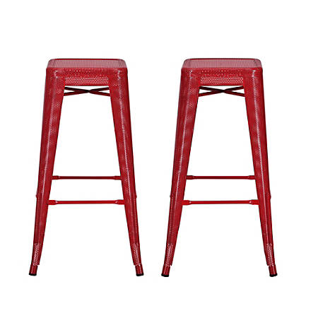 DHP Nova Metal Mesh Backless Bar Stool, Red