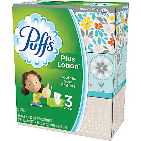 Puffs® Plus Lotion™ Facial Tissues, 2 Ply, White, Case Of 3 Boxes