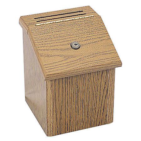 """Safco® Wood Locking Suggestion Box, 9 3/4""""H x 7 3/4""""W x 7 3/4""""D, Medium Oak"""