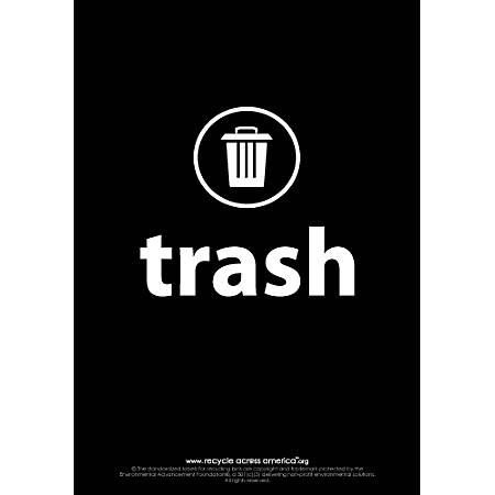 "Recycle Across America Trash Standardized Recycling Labels, TRASH-1007, 10"" x 7"", Black"