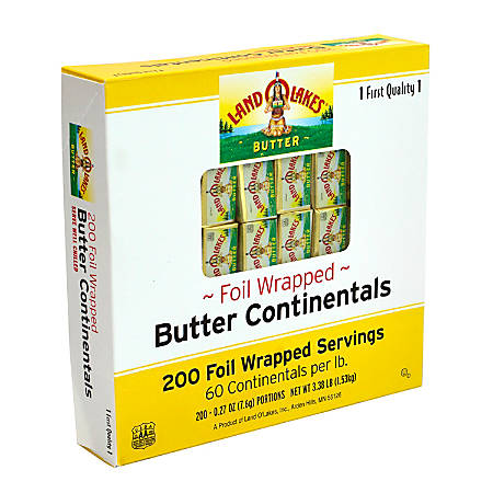 Land O'Lakes Butter Continentals, 0.27 Oz, Pack Of 200