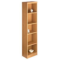 "Office Depot® Brand Progressive Narrow Bookcase, 5-Shelf, 70 5/8""H x 17 1/8""W x 11 5/8""D, American Cherry"