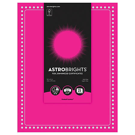 "Astrobrights Foil Enhanced Certificates - Dots Design - 65 lb/176 gsm - 8.5"" x 11"" - Fireball Fuchsia - Card Stock, Foil - 25 / Pack"