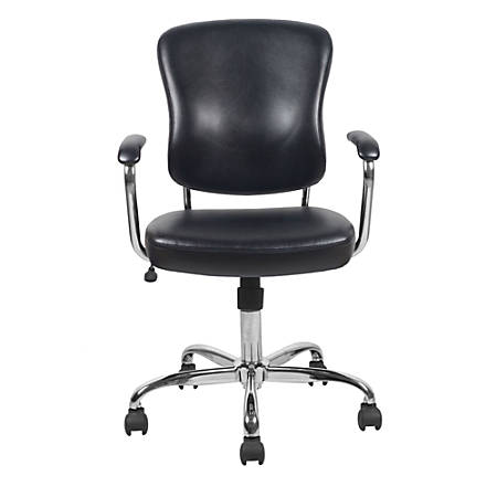 OFM Essentials Leather Mid-Back Chair, Black/Chrome
