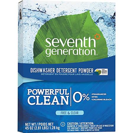 Seventh Generation Natural Dishwasher Detergent - Powder - 45 oz (2.81 lb) - Natural Scent - 12 / Carton - Clear