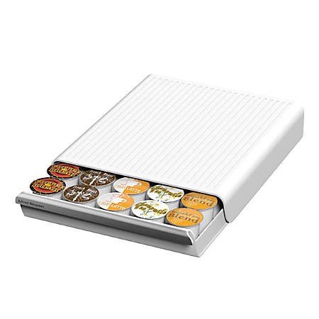 "Mind Reader 'Coupe' Coffee Pod Drawer For 30 K-Cups®, 2 1/2"" x 9 3/8"" x 13 1/8"", White"