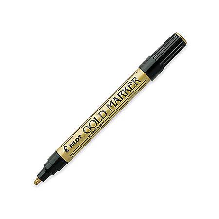 Pilot Creative Permanent Markers - Medium Marker Point - 1 mm Marker Point Size - Gold - Gold Barrel - 1 Each