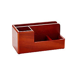 Rolodex Wood Tones Desk Organizer Mahogany