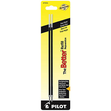 Pilot® Ballpoint Pen Refills, For Better Ball And EasyTouch Stick Pens, Fine Point, 0.7 mm, Black Ink, Pack Of 2