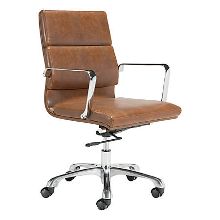 Zuo Modern Ithaca Mid-Back Chair, Vintage Brown/Chrome