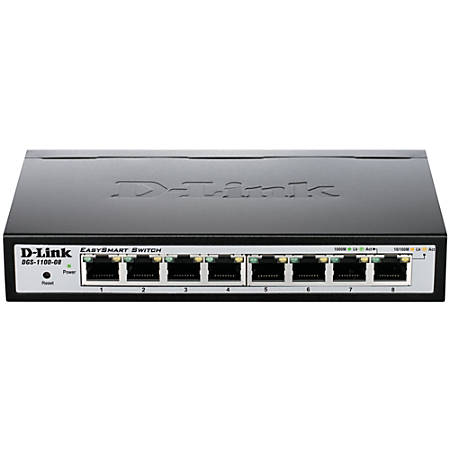 D-Link DGS-1100-08 Ethernet Switch - 8 Ports - Manageable - 2 Layer Supported - Twisted Pair - Desktop - Lifetime Limited Warranty