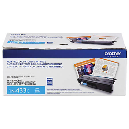 Brother® TN433 Series High-Yield Toner Cartridge, Cyan, TN433C